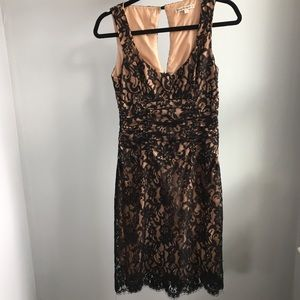 Tracy Reese Black Lace Sexy Lined Dress 4/S